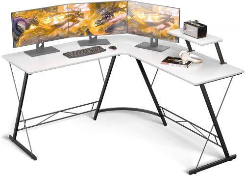 10. L Shaped Desk Home Office Desk with Round