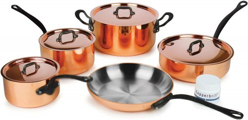 10. Mauviel M'heritage M250C 9-piece 2.5-mm Copper Cookware