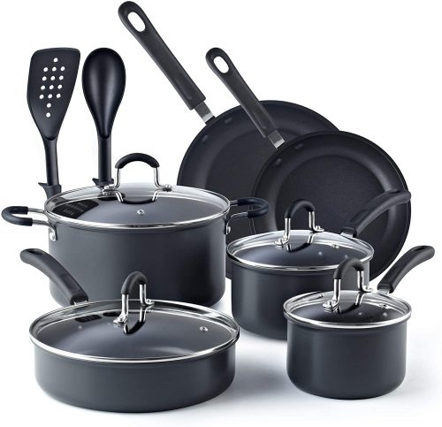 9. Cook N Home 02597, Black 12-Piece Non-stick Hard Anodized Cookware Set