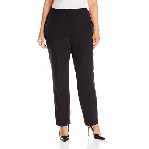8. NINE WEST Women's Plus Size Stretch Crepe Trouser Pant