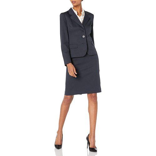 6.Le Suit Women's Three button navy Skirt Suit | Black Women Suits