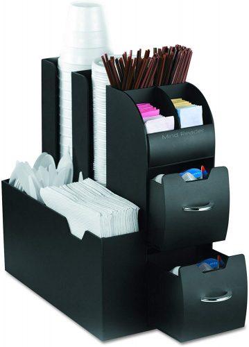 1. Mind Reader Coffee Condiment and Accessories Caddy Organizer| Coffee Machine Accessories Black