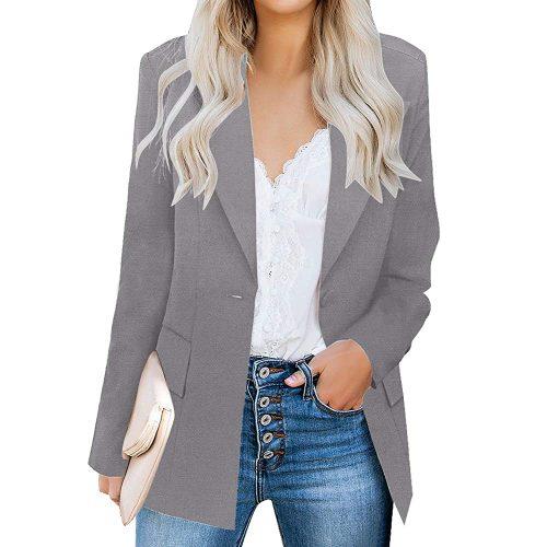 3. luvamia Women's Casual Long Sleeve Lapel Button Slim Work Office Blazer Jacket