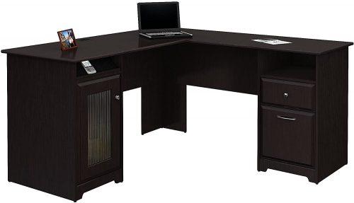 1. Bush Furniture Cabot L Shaped Computer Desk in Espresso Oak