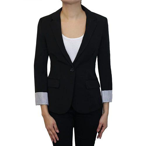 4. Instar Mode Women's Cuffed Sleeve One Button Boyfriend Blazer | Black Blazer For Women