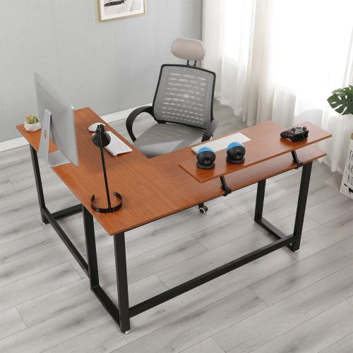 6. SogesPower 59 inches Office Desk L-Shaped Computer Desk