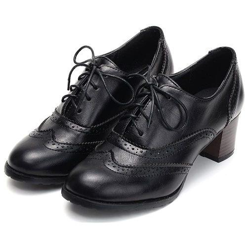 9. Odema Women's PU Leather Oxfords Brogue Wingtip