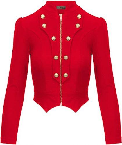 5. Hybrid & Company Women's Military Crop Stretch | Red Blazers For Women