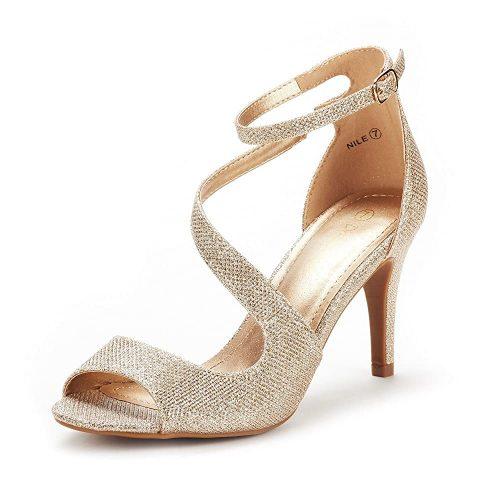 10. DREAM PAIRS Women's Nile Fashion Stilettos Open Toe Pump Heel Sandals