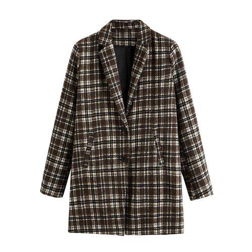 1. SheIn Women's Lapel Collar Coat Long Sleeve Plaid Blazer Outerwear