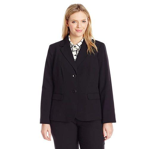 1. Nine West Women's Plus Size 2 Button Stretch Suit | Black Women Suits