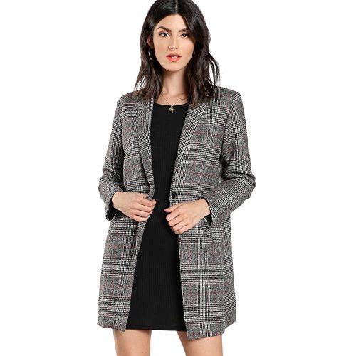 5. Shein Women's Lapel Collar Coat Long Sleeve Plaid Blazer Outerwear