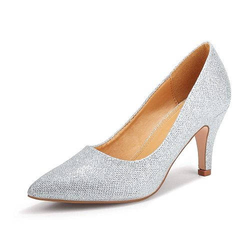 1. SHOWHOW Women's Classic Pointed Closed Toe | Silver Heels
