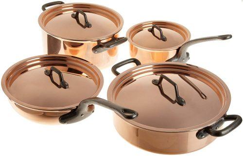 7. Matfer Bourgeat Matfer 915901 8 Piece Bourgeat Copper Cookware Set
