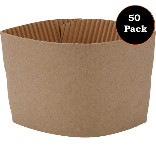 2. 1InTheOffice Corrugated Coffee Cup Sleeves for 10oz 12oz 16 oz(50)