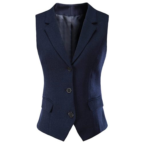 V VOCNI Women V-Neck Three Front Button Slim fit Waist Vest