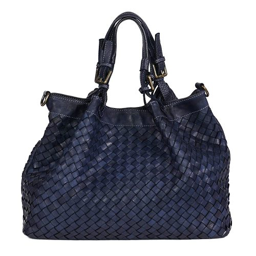 8. Women Top Handle Woven Leather Bag