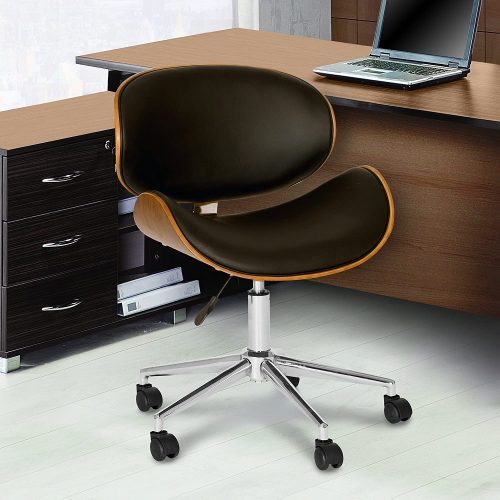 8. Armen Living Daphne Office Chair in Black Faux Leather and Chrome Finish