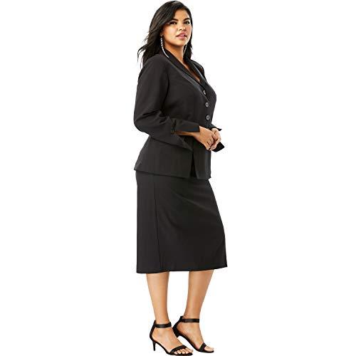 Roamans Women's Plus Size Two-Piece Skirt Suit | Black Women Suits