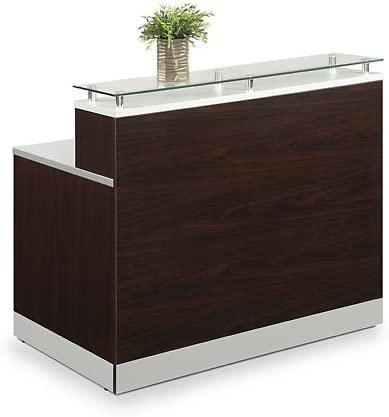 6. Esquire Glass Top Reception Desk