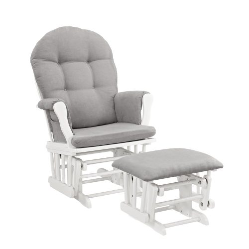 3 Windsor Glider and Ottoman, White with Gray Cushion - Replacement Cushions For Wicker Furniture