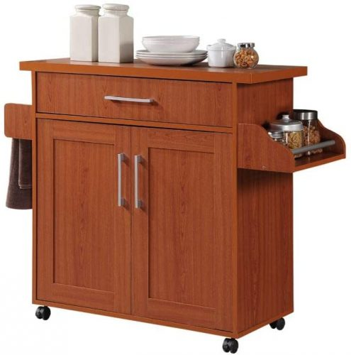 5. Hodedah Kitchen Island - Cherry Kitchen Cabinets