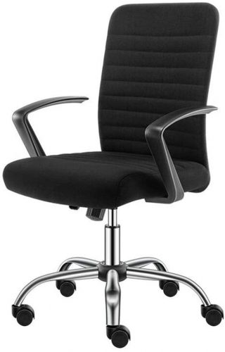 9. Wlnnes Black Modern Mid Back Support Desk Chair