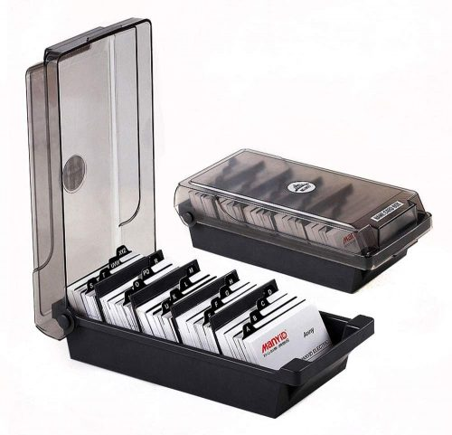 4. Homanda Black Plastic Business Name Card Box Case Holder