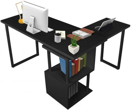 1. COZUHAUSE Rotating L-Shaped Office Desk