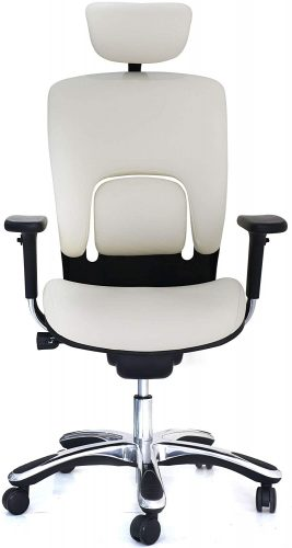 7. White Ergonomic Leather Chair by GM Seating