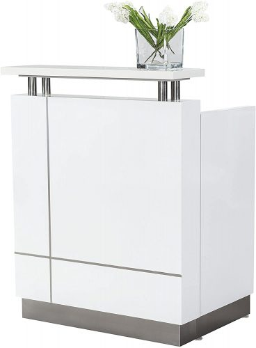 8. GW FURNITURE QT-108 White Reception Desk