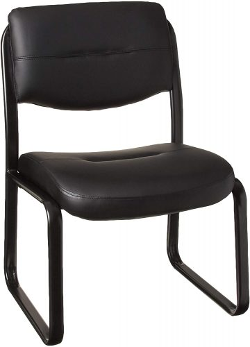 10. Boss Office Products Leather Sled Base Side Chair in Black