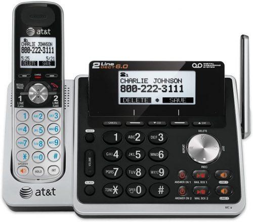 AT&T (TL88102) Dect 6.0 1-Handset 2-Line Landline Telephone | 2 Line Cordless Phones