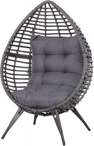 3 . Outsunny Wicker Rattan Patio Teardrop Chair - Outdoor Papasan Chair