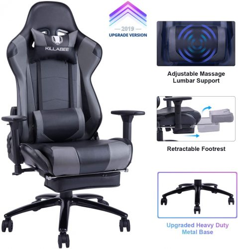 4. KILLABEE Big and Tall 350lb Massage Gaming Chair- Heated Office Chair
