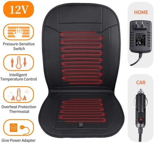 10. LARROUS Leather Heated Car Seat Cushion