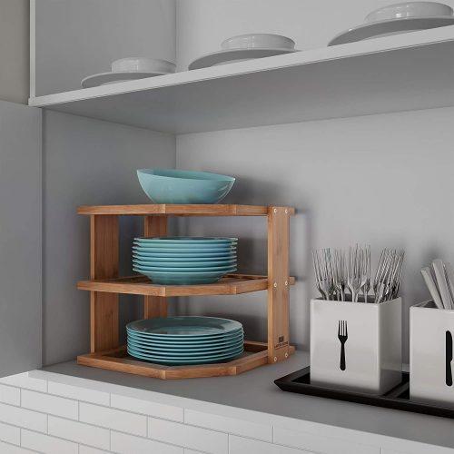 6. Lavish Home 3-Tier Bamboo Corner Shelf
