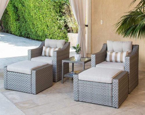 2. SOLAURA 5-Piece Sofa Outdoor Furniture Set - Outdoor Papasan Chair