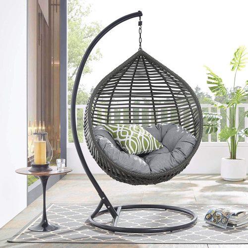 4. Modway Garner Outdoor Patio Wicker Rattan Teardrop - Outdoor Papasan Chair