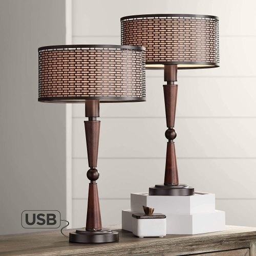 10. Hunter Bronze Accent Retro Table Lamps