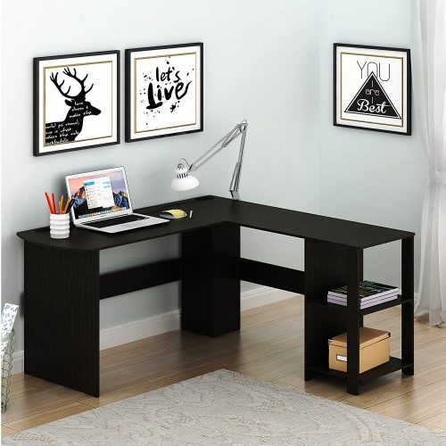 3 SHW L-Shaped Home Office Corner Desk Wood Top, Espresso