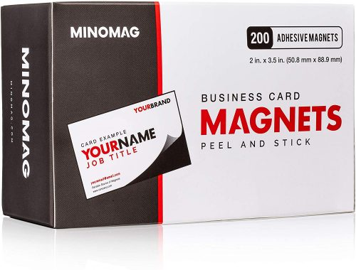 2. Minomag Business Card Magnets | Peel and Stick Adhesive