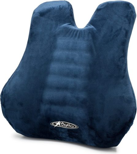 8. Aylio Memory Foam Lumbar & Full Back Support Cushion