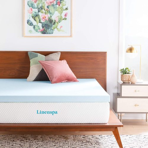 LINENSPA 3 Inch Gel Infused Memory Foam Mattress Topper - Super King Sized Mattresses