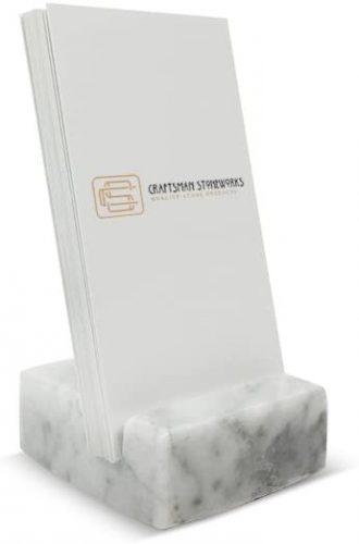 5. Vertical Business Card Holder White Carrara Marble