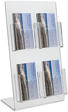 1. Source One Deluxe 2 Tier 4 Pocket Vertical Clear Business Card Holder