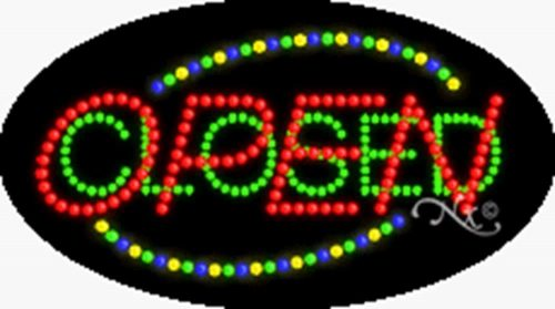 10. 15x27x1 inches Open Closed Animated Flashing LED Window Sign
