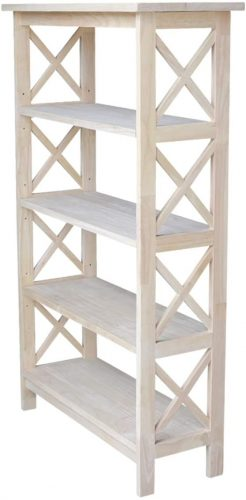 9. International Concepts 4-Tier X-Sided Bookcase, Unfinished