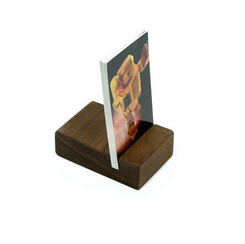 2. Walnut Vertical Business Card Holder