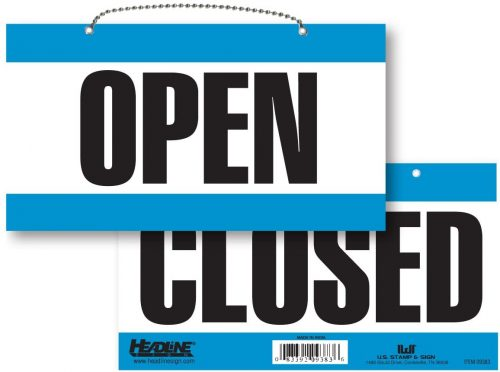 7. Headline Sign 9384 Double-Sided Open/Closed Sign, 6 Inches by 11 Inches